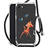 Finoo Handykette geeignet für iPhone 7/8 Handyhülle mit roter Kordel Band Schutzhülle Necklace zum umhängen - Video Kassette -