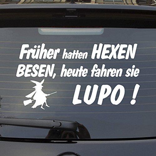 Auto Aufkleber in Wunschfarbe Früher hatten Hexen Besen heute fahren Sie! für Lupe Fans...