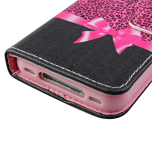iPhone 4S Hülle, iPhone 4 Hülle,ISAKEN iPhone 4S Hülle Case,Handy Case Cover Tasche for iPhone 4S / iPhone 4, Bunte Retro Muster Druck Flip PU Leder Tasche Case Hülle im Bookstyle mit Standfunktion Ka Leopard Bowknot