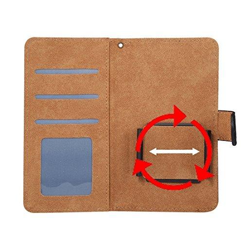 BING Universal Rotation Clip Krokodil Texture Case Geeignet für 4.8-5.3 Zoll Handys, für iPhone 7 & Samsung Galaxy S7 & S6 Edge & Huawei P9 Horizontale Flip PU Ledertasche mit Card Slots & Foto Frame  Black