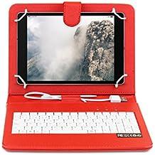 OME- Funda tablet con teclado para Samsung Galaxy S2 8 pulgadas modelo T710/T715/T719 con OTG y MicroUsb-Rojo