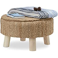 Relaxdays Hocker rund mit Polster, Vintage Look Sitzhocker mit Jute-Bezug, Fußhocker mit Mangoholzbeinen, HxD 33 x 55 cm preisvergleich bei kinderzimmerdekopreise.eu