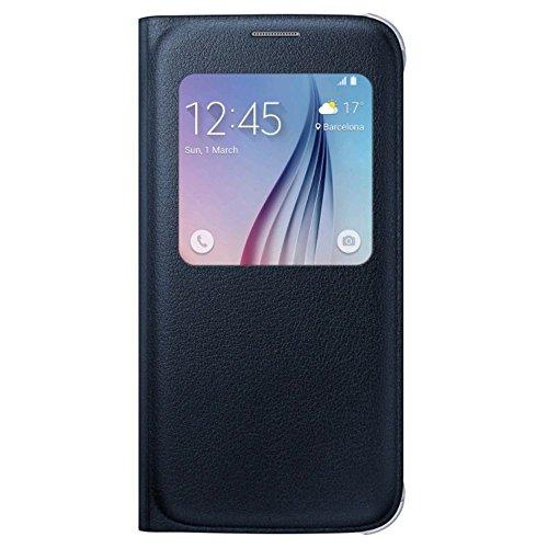 Samsung Custodia S View in Similpelle per Galaxy S6, Nero Zaffiro