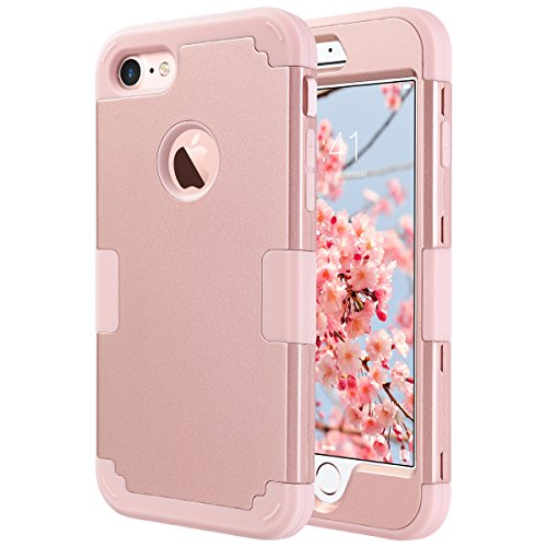 iPhone 7 Cover, ULAK iPhone 7 Custodia ibrida a protezione integrale Cover per Apple iPhone 7 case con parte esterna in 3 strati di morbido silicone e interno rigido, Glitters Oro Rosa Oro Rosa
