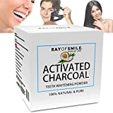 Blanqueamiento dental de Carbón Activado 100% Natural y puro | 60 g de Carbón Activo en polvo | El blanqueamiento dental | Refresca el aliento | Activated charcoal | Pasta dental de carbón activado de RAY OF SMILE