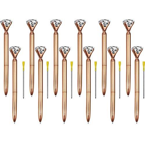 ETCBUYS 12er Pack Diamant-Pens - Rotgold, Gold-Fancy-Pens für Frauen, Stift mit Diamant auf der Oberseite, Strasssteine Kristall-Metall-Kugelschreiber Black Ink (Rose Gold)