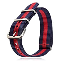 rycnet 18mm/20mm Adjustable Durable Nylon Wrist Watch Band Strap Replacement Tool Navy_red_navy 20mm