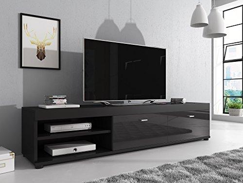 TV-Element TV Schrank Ständer Elsa Schwarz/Fronten hochglänzend schwarz 140cm