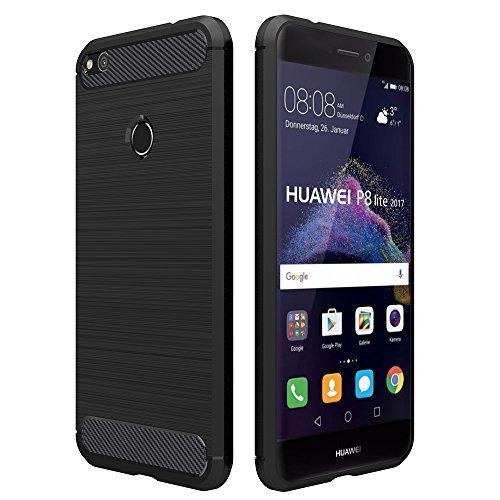 Funda Huawei P8 Lite 2017, Simpeak Fundas huawei P8 Lite 2017 carcasa P8 Lite 2017(No para Huawei p8 lite) funda Gel Silicona Premium TPU(5,2 Pulgadas),Negro