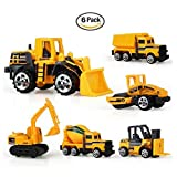 #10: Inertia Toy Early Engineering Vehicles Friction Powered Kids Dumper,Bulldozers,Forklift,Tank Truck,Asphalt Car and Excavator 6 Set Toy for Children Kids Boys and Girls by CoCo
