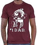 HARIZ  Herren T-Shirt #1 Dad Papa Vater Vatertag Geschenkideen Inkl. Geschenk Karte Wein Rot XXL