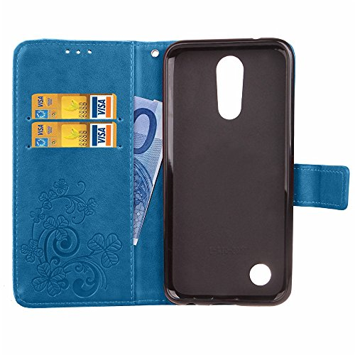 EKINHUI Case Cover Double Magnetic Back Sucktion Retro Style PU Leder Flip Stand Case mit Kickstand und Wallet Beutel Funktion für LG K10 2017 ( Color : Rose ) Blue