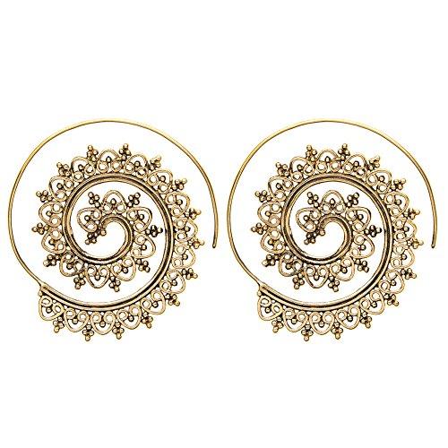 81stgeneration Frauen Messing Goldton Indian Swirl Dotwork Spiral Ethnisch Stammes Ohrringe (Gold Ohrringe Aus Indien)
