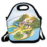 Ntpclsuits Lunch Tote Bag Flip-Flop Island Travel School Picnic Lunch Bag