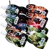TE-Trend 8 Piece Disney Star Wars Motif Folding Bottle Collapsible Water Bottle 300ml Sportverschluß Bottle Karabiner Snap Hook Multicoloured