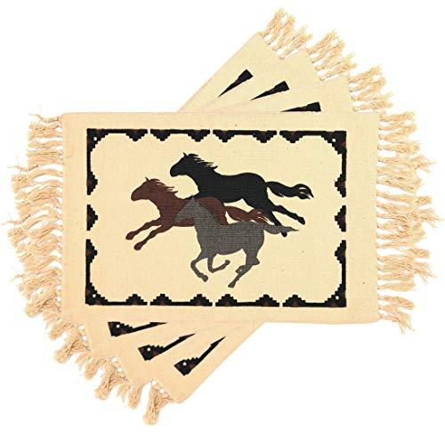 EL Paso Satteldecke, Platzdeckchen im Südwest-Stil, für Motto-Partys oder Hochzeiten, 33 x 71 cm, 4 Stück Free Horses