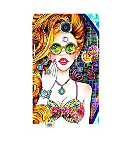 Beautiful Girl with Golden Curly Hair Wearing Diamond Jewellery and Reflectors 3D Hard Polycarbonate Designer Back Case Cover for Samsung Galaxy S4 :: Samsung Galaxy S4 i9500