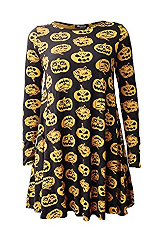 Comfiestyle - Robe - Patineuse - Manches Longues - Femme Black & Yellow Pumpkins