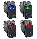 HOTSYSTEM 1 Rot+1 Orange+1 Grün+1 Blau 12V Wasserdicht Auto KFZ Schalter Wippschalter Ein/Ausschalter LED Beleuchtet