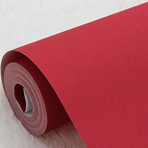 Zhzhco Modernes, Minimalistisches Roten Chinesischen Vliestapeten Tapete Solid Plain 0.53Mx10M Nicht Selbstklebende