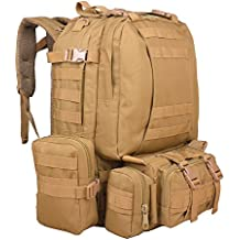 TTLIFE 55L Mochilas de Senderismo con 3 Bolsos Desmontable y Multifuncional Mochila táctica Mochila Militar Camping