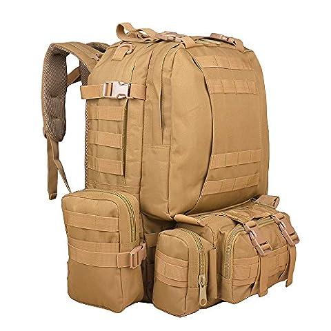 TTLIFE Sac à dos de 55 litres avec 3 poches MOLLE, Imperméable du matériel d'Oxford 600D également un sac de voyage / sacs à dos de randonnée, idéal pour les sports en plein air Randonnée Escalade Cyclisme équitation et etc. (Kaki)