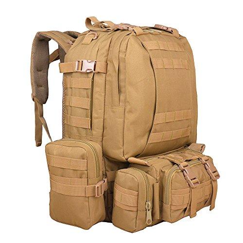 Imagen de ttlife 55l  de senderismo con 3 bolsos desmontable y multifuncional, táctica, militar,molle de viaje para camping negro/camuflaje/kahki/acu