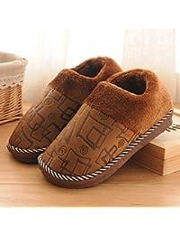 LaxBa Frauen Männer Winter warm Plüsch Hausschuhe Indoor Anti-Slip Cotton-Padded Slipper Schuhe Grau 41-42