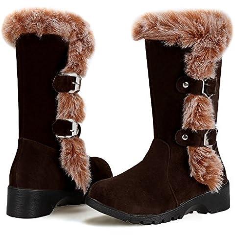 MEXI Mujeres Doble Button totalmente alineada botas piel impermeable de la nieve del invierno