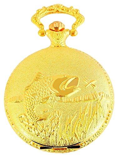 Classique Analog Taschenuhr mit Metall Kette Fisch Angeln 480702000051 Goldfarbiges Gehäuse im Maße 46mm x 15mm mit Ziffernblattfarbe Weiß und Mineralglas