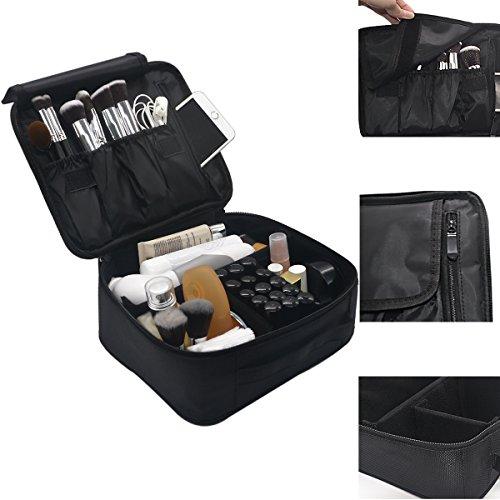 Lmeison Lmeison Make-up Tasche Groß,Nylon Kosmetiktasche Professionelle Pinseltasche Kosmetikkoffer Makeup Tasche 24,4 x 22,6 x 10 cm - (Up Kits Make Große)