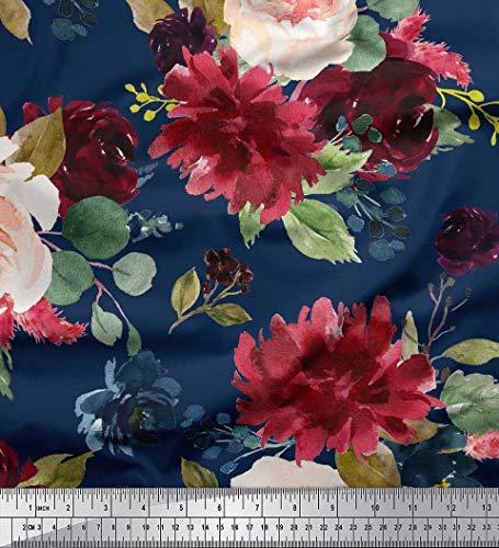 Soimoi Blau schwere Leinwand Stoff Blätter & Pfingstrose Blumen- Drucken Nahen Stoff 1 Meter 58 Zoll breit -
