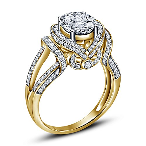 Vorra Fashion  -  925 Sterlingsilber Sterling-Silber 925 Rund White (Gold Accent Diamond Gelb Ring)