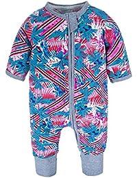 d6d793098fdb BIG ELEPHANT Baby Girls 1 Piece Long Sleeve Pajama Graphic Print Zipper  Romper Style J