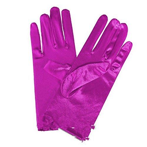 L & L Damen kurz Handgelenk Handschuhe weiche satin Party Ball Abend Hochzeitsgeschenk - Lila, One size
