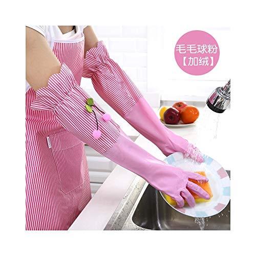 Home Handschuhe Wasserdichte und haltbare Latex-Dick-PVC-Handschuhe Verschiedene Handschuhe (Color : Pink-A, Size : L) - Damen Bad-pulver