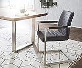 Küchenstuhl Earnest Vintage Freischwinger Design Stuhl (Anthrazit, Gestell Edelstahl)