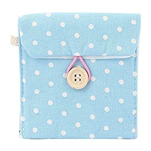 Lady Cotton Blend Dots Sanitary Pad Napkin Bag Pouch Light Blue