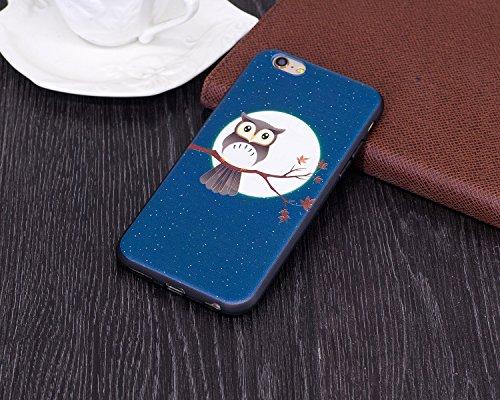 """Coque iPhone 6, Étui iPhone 6S, ISAKEN Coque pour Apple iPhone 6(4.7"""") - Étui Housse Téléphone Étui TPU Silicone Souple Coque Ultra Mince Gel Doux Housse Motif Arrière Case Antichoc Doux Durable Résis lune d'hibou"""