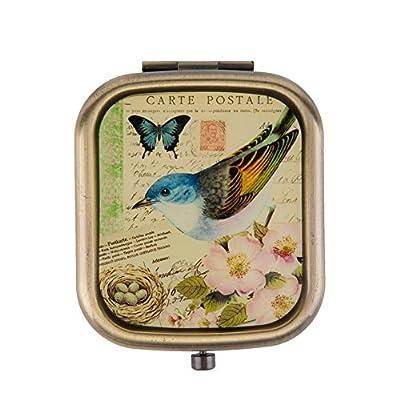 IKKY HOME Handspiegel Compact Taschenvergr??erungs Kosmetik Make-up Oval Handgemachte Perlmutt Geschenke Vintage