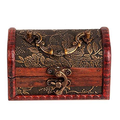 Vintage Bijoux Collier de perles Bracelet Cadeau Box Stockage Organiseur Wood Case aléatoire