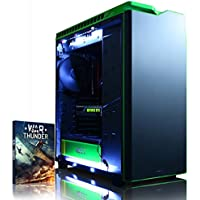 Vibox Viper 54 Gaming PC - with Warthunder Game Bundle, Windows 10 (4.2GHz Intel i7 Quad Core Processor, Nvidia Geforce GTX 970 Graphics Card, 500GB Solid State Drive, 3TB Hard Drive, 32GB RAM, NZXT H440 (Black/Green) Case)