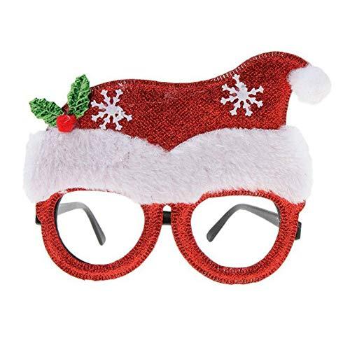 (LOTONJT 1 para Weihnachts Party-Gläser Lustige Weihnachts Gefälschte Kostüm Brille Kinder Spielzeug Party Favors Photo Booth Requisiten Festival Zubehör (Christmas Hat))