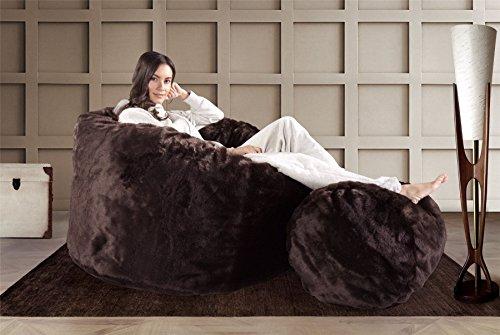 Lounge Pug®, Riesen Sitzsack C500-L, CloudSac Latexflocken-Mischung, Relaxsessel, Kunstfell Braun