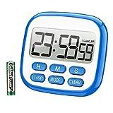 TOPELEK Digital Temporizador de Cocina, Temporizador de 24 Horas Reloj Despertador con Pantalla LCD de Gran Tamaño, Pitido, Fuerte Imanes, Retráctil Soporte (con Batería)