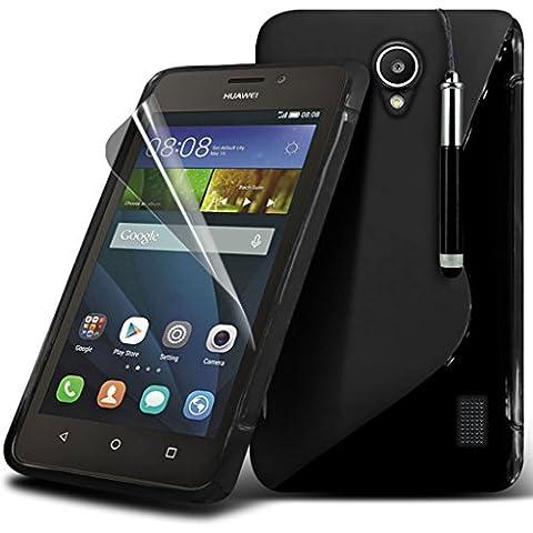 Gadget Giant® Huawei Ascend Y635 Funda en línea S de hidro silicona de alta calidad con protector de pantalla y lápiz óptico retráctil -