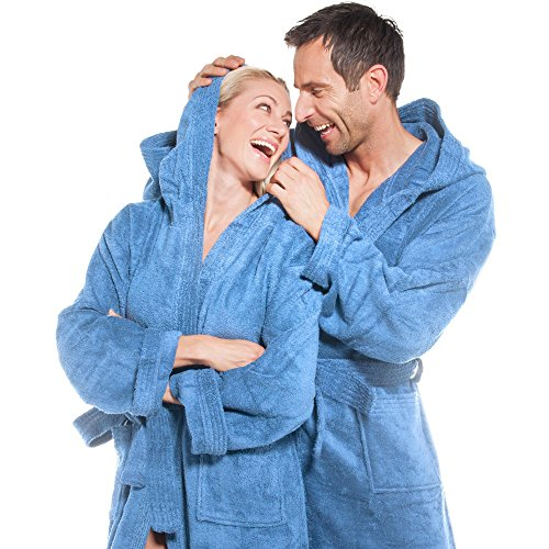 Frottee Bademantel für Damen u. Herren mit Kapuze, Baumwolle Saunamantel von aqua-textil, Föhr einfarbig oder Sylt zweifarbig, Morgenmantel wadenlang Hellblau