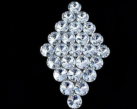 Argent Rhinestone Diamante/Diamant Cristal à coudre Applique Patch pour mariage décontracté formelle Décoration accessoire de mode 120mm x 75mm par Trimming Shop
