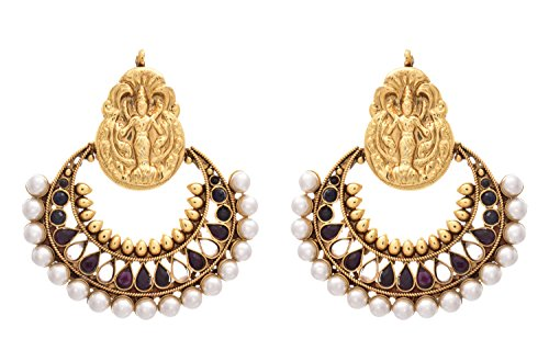 JFL -Traditional Ethnic One Gram Gold Plated Temple Mahalaxmi Ramleela Polki and Pearls Black Designer Earrings for Women and Girls.  available at amazon for Rs.1149