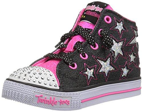 Skechers Mädchen Shuffles-Lil Rockin Stars Ausbilder, Schwarz (Black/Neon Pink), 23 EU (Kinder Lil Schuhe)